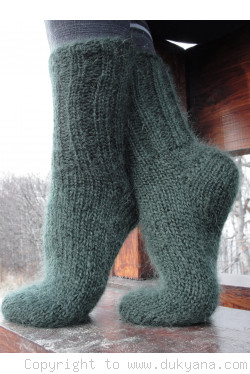 Mohair socks unisex hand knitted in hunter green