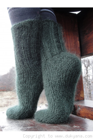 Mohair socks unisex hand knitted in hunter green