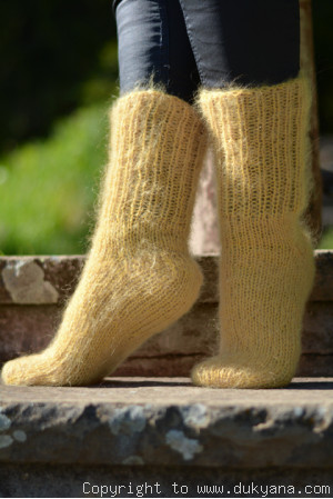 Handknit mohair socks in gold yellow
