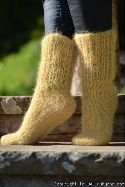 Handknit mohair socks in gold yellow