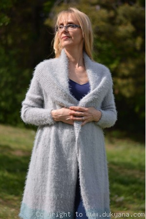 on request Summer extra soft cardigan with a shawl collar and open fronts