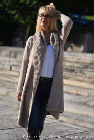 Cotton cardigan with a shawl collar and open fronts in beige