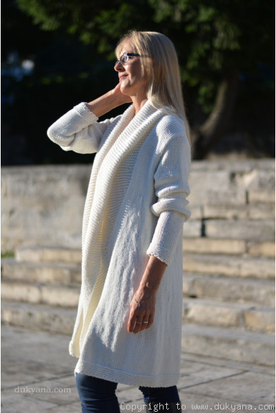 Cotton cardigan with a shawl collar and open fronts in cream