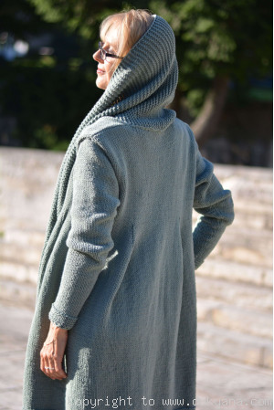 Cotton cardigan with a shawl collar and open fronts in sage