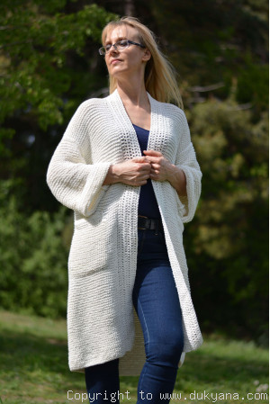 Cotton cardigan with an open front in cream