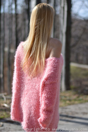 On request Hand knitted super soft and fuzzy slouchy summer sweater in pink
