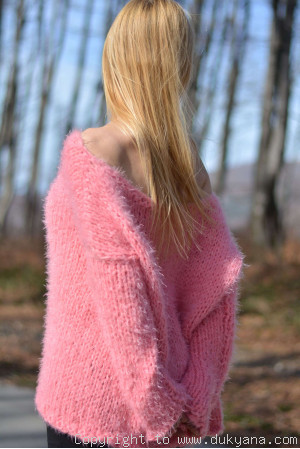 Hand knitted super soft and fuzzy slouchy summer sweater in pink