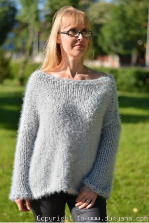 Hand knitted super soft and fuzzy slouchy summer sweater in gray