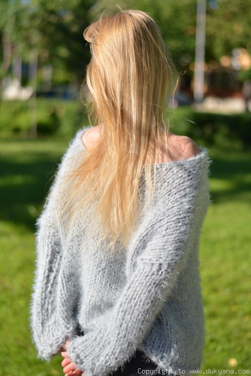On request Hand knitted super soft and fuzzy slouchy summer sweater in gray