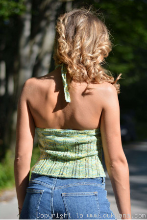 Hand knitted SOFT SUMMER halter top in green