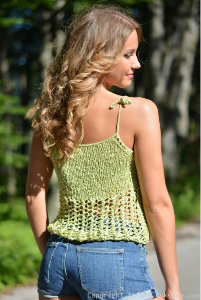Hand knitted SOFT SUMMER sleeveless top in lime green-limited edition