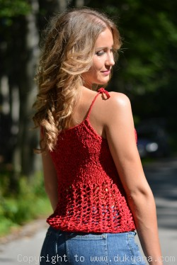 Hand knitted SOFT SUMMER sleeveless top in lime red-limited edition