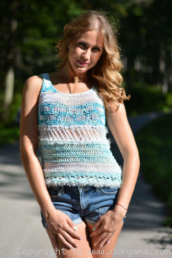 Hand knitted soft summer top in blue shades