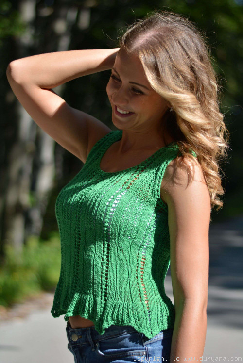 Hand knitted SOFT SUMMER sleeveless top in green