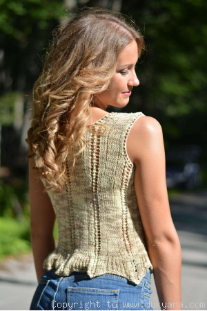 Hand knitted SOFT SUMMER sleeveless top in sand yellow