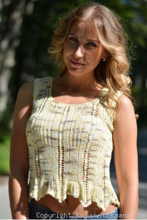 Hand knitted SOFT SUMMER sleeveless top