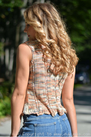 Hand knitted SOFT SUMMER sleeveless top in beige