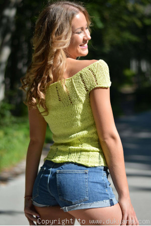 Hand knitted soft elastic off-shoulder summer top in green-limited edition