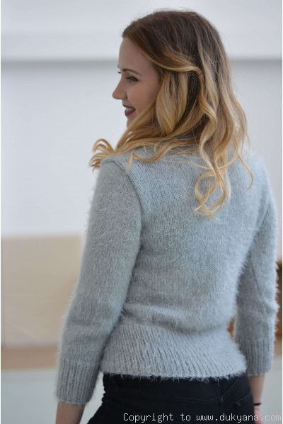 Angora-like soft summer Vneck sweater in gray