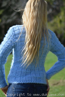 Hand knitted super soft and fuzzy summer Vneck sweater