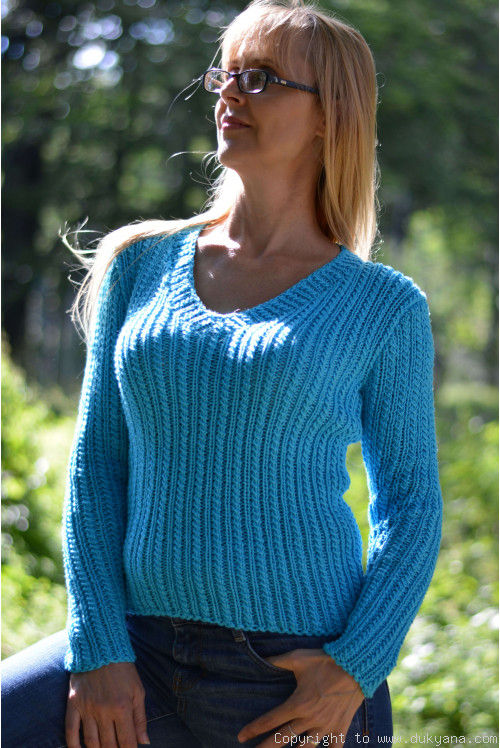 Egyptian cotton summer V-neck sweater in turquoise blue