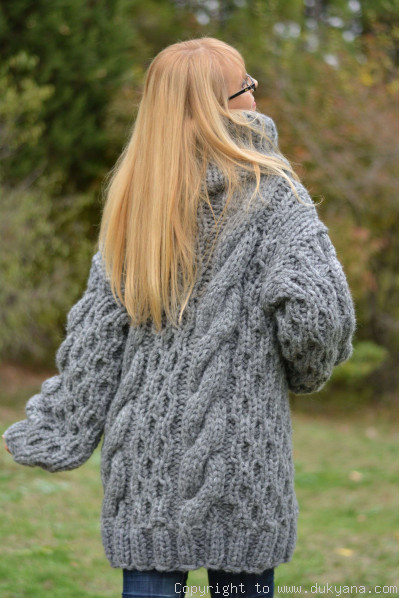 On request Handknit chunky merino blend soft huge T-neck cabled sweater