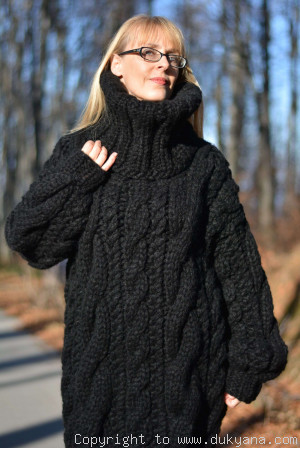 Hand knit chunky merino blend unisex huge Turtleneck cabled sweater