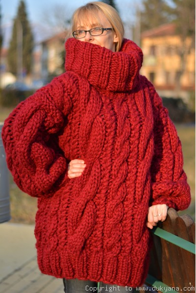 Handknit chunky merino blend huge cabled unisex sweater in red