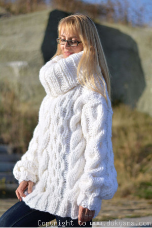 On request Hand knitted chunky huge T-neck cabled wool blend sweater in white