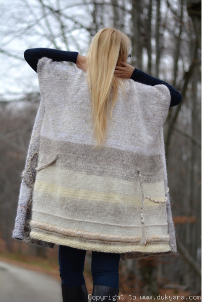 Handknit unique wool blend art knitted shrug in cream