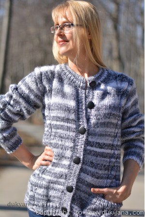 Hand knit wool blend crewneck cardigan in black-gray-white mix