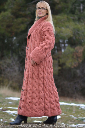 Handknit long chunky wool blend cabled cardigan
