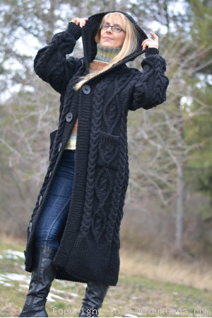 Hand knitted soft merino blend hooded cabled cardigan