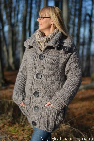 Knitted mens  cardigan from chunky and soft wool blend