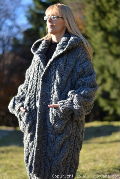 Hand knitted soft merino blend hooded mens cardigan