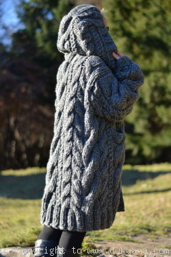 On request hand knitted soft merino blend hooded mens cardigan