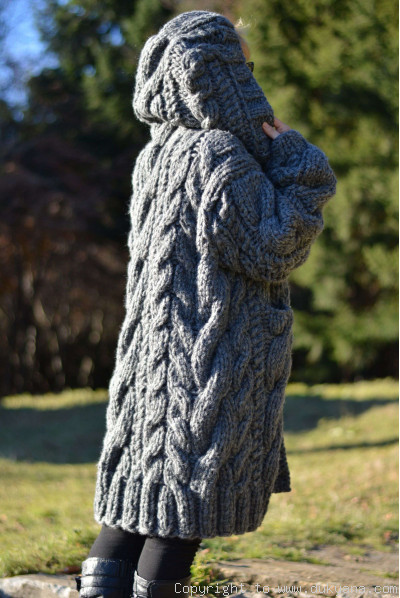 Hand knitted soft merino blend hooded mens cardigan