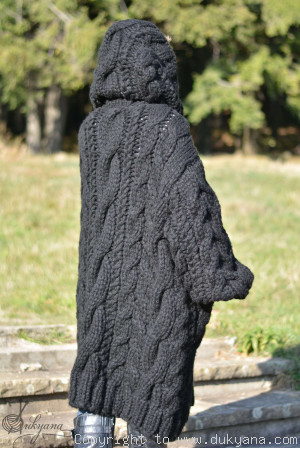Hand knit knee-long chunky cabled wool blend unisex hooded cardigan in black