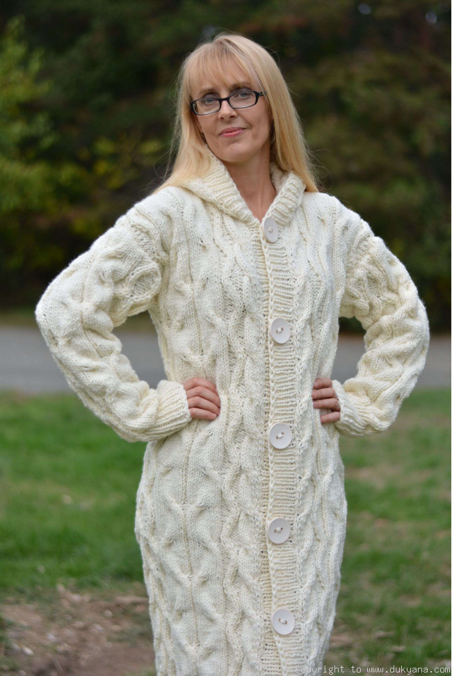 678a53b4710115 Hand knit long chunky wool blend hooded cardigan in Ivory/CA27