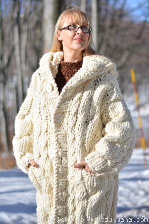 Hand knit knee-long chunky cabled wool blend unisex hooded cardigan in Ivory