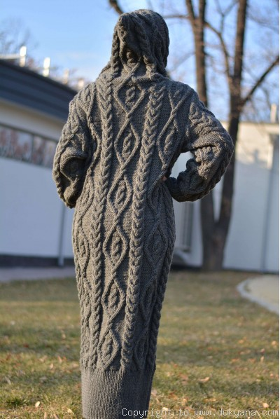 Hand knit long chunky wool blend hooded cardigan in gray
