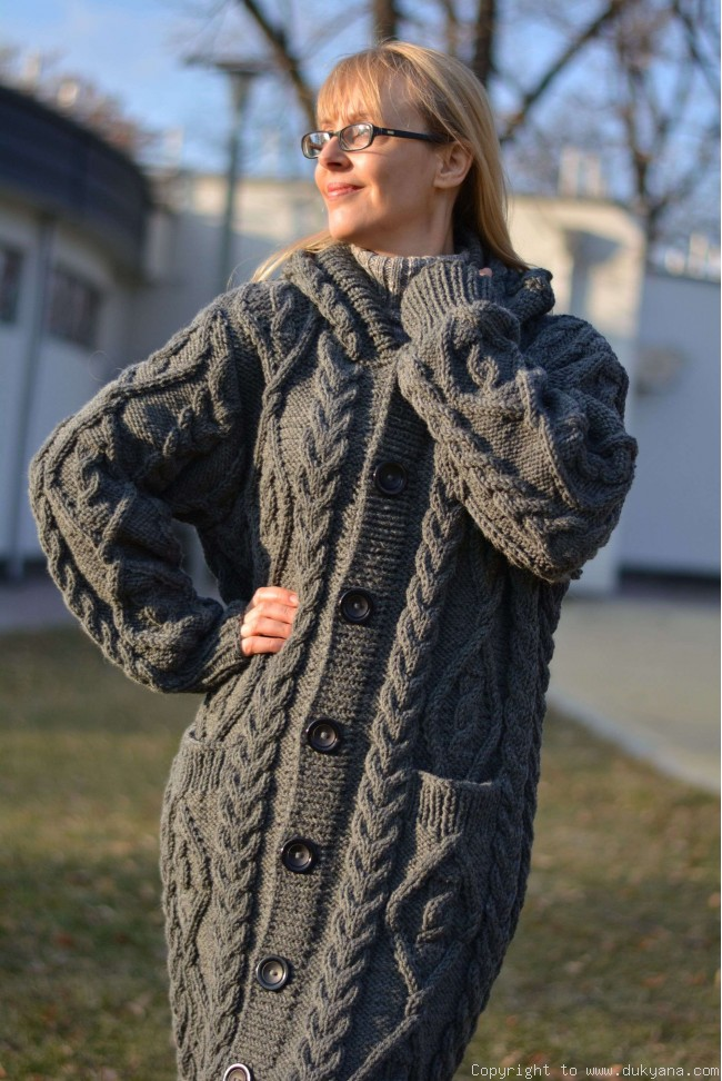 Hand Knit Long Chunky Wool Blend Hooded Cardigan In Grayca39