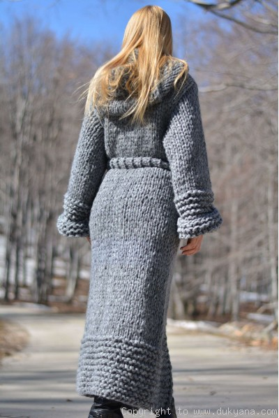 Hand knit long chunky wool blend hooded cardigan made on request