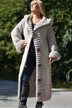 Hand knit long chunky wool blend hooded cardigan in oatmeal