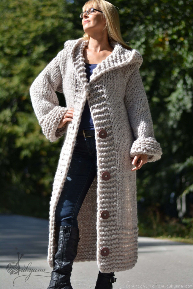 cheaper sale wide selection of colours and designs best authentic Hand knit long chunky wool blend hooded cardigan in oatmeal/CA45
