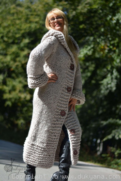 On request Hand knit long chunky wool blend hooded cardigan in oatmeal