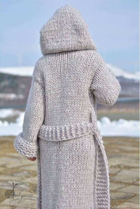 Hand Knit Long Chunky Wool Blend Hooded Cardigan In