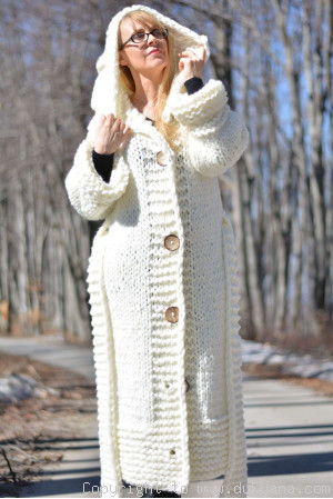 Hand knit long chunky wool blend hooded cardigan in Ivory