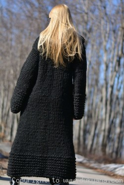 Handknit long chunky wool blend hooded cardigan in black