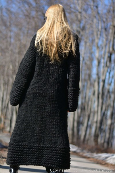 Hand knit long chunky wool blend hooded cardigan in black
